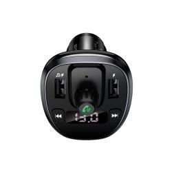 Лучшая цена Usams новые два порта USB 3.4A цифровом дисплее беспроводной FM автомобильное зарядное устройство