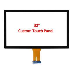 Custom OEM ODM 32 بوصة PCAP Capacitive Multi 10 نقطة شاشة لوحة مستشعر تعمل باللمس مع واجهة USB زجاجية مقاومة للماء لـ مكون وحدة LCD للوصلة البصرية بالهواء