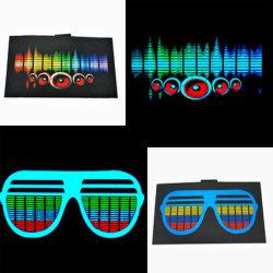 1000 디자인 DJ 댄스 라이트 업 앤 다운 EL 셔츠 패널/사용자 지정 EL 이퀄라이저 패널/음악 활성화 LED 티셔츠 패널