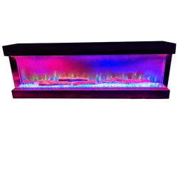 60 Zoll 3 Seite Glas Einsatz Große Design Elektro-Kamin Mit wechselbarem Flammenbett und Helligkeitsstufen