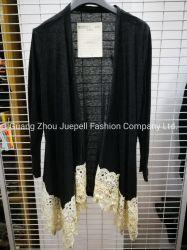 Cardigan sottile grigio/maglione del manicotto lungo elegante dell'OEM con il bordo del merletto per le donne e le signore