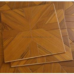 450mm Square Parquet Home部屋Natural Golden Color Engineered Wood Teak Flooring