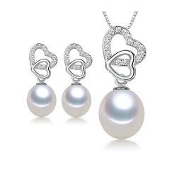 Double coeur argent 925 Bijoux Set avec l'eau douce Perle