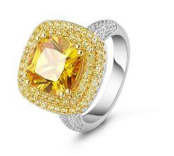 نمو مجوهرات كبيرة تكعيبيّ زركونيوم حجارة مع نوع ذهب يصفّى [ودّينغ رينغ]