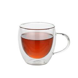 Venda a quente feitas à mão uma caneca de vidro de parede dupla para chá e café