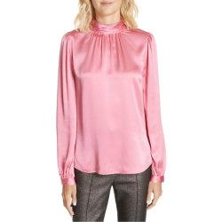 De vuelta se burlan de cuello pajarita señoras blusa de seda rosa