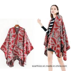 La nueva marca de lujo invierno Bufandas Cashmere bufanda se sienten las mujeres poncho rojo y negro y el Cabo de la curva de la moda Mantón de manguito de flores