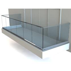 U Canal Balustrade balcon en verre de vitre de panneau en aluminium rambarde