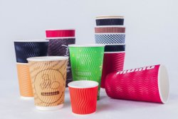 8 oz jetable noir recyclé papier double paroi les tasses de café en carton ondulé