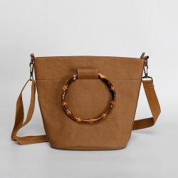 Vintage バンブーハンドルハンドバッグ Kraft Paper Shoulder Bag メスラージ 容量トートバッグ