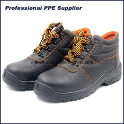 Negro de corte superior de cuero auténtico baratos Puntera de trabajo de los hombres Zapatos de seguridad