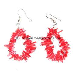 Pierres précieuses en cristal naturel Rouge Boucles d'oreille en coraux roses