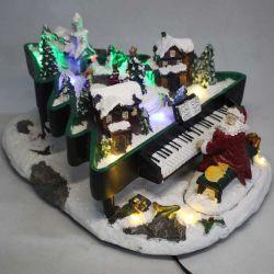 Polyresin noël santa piano animé avec LED colorés et de la musique de la décoration de la chambre