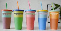 Plástico reutilizadas Bap gratis regalo de Navidad de la Copa de jugo de café, té, tazas de Glitter con paja FL473