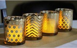 3結婚式の装飾のための金電気版の切り分けられたガラス希望の蝋燭ホールダーのセット