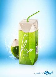 Commerce de gros de l'eau de noix de coco en boîte de papier de 250ml