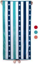 Большие большие пляжные полотенца - мягкие 70 X 35 дюйма голубой хлопок велюровой тесьмой Star полосатый бассейн полотенце, шикарные кабана летом искупаться полотенце (синий)