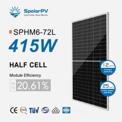لوحات شمسية نصف مقطوعة من اللوحات الكهروضوئية أحادية 415 واط 400 واط من الصفيحة الشمسية 395واط