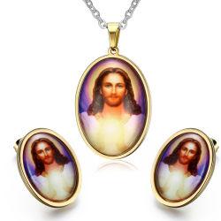صنع وفقا لطلب الزّبون يسوع عقد مينا طبق دعامة حلب مجوهرات مجموعة