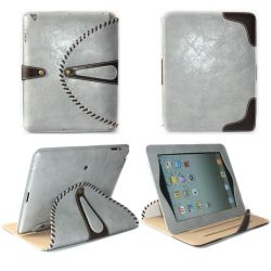 iPad 4のための1 Standable Flip Leather Caseに付き2