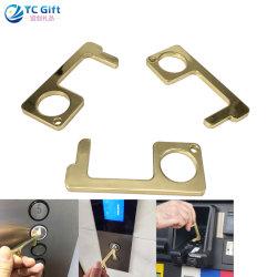 El logotipo de la impresión de no tocar metal EDC Aleación de zinc cobre Abrepuertas portátil de la herramienta Lápiz Touchless gancho de la empuñadura de puerta Llavero estandarizados