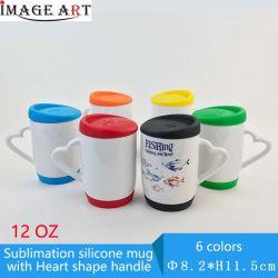 12 унций передача тепла печать силиконового герметика с термической возгонкой чашки чашки пустой слой с Сердечка ручки