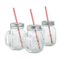 Großverkauf 3 Glas-trinkendes Glas-eiskaltes Getränk mit Stroh-Schaukarton