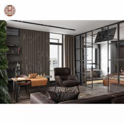 Hotel 5 Estrellas Apartamento marco de metal negro muebles cama de cuero de la pantalla del panel de madera
