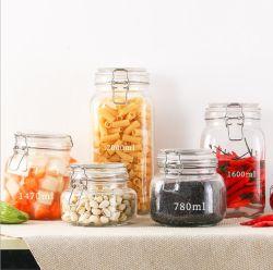 Vide Ustensiles de cuisine en verre clair de la nourriture de stockage des bocaux avec le haut et le bouchon de verre hermétiques Seel
