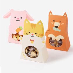 귀여운 고양이 토끼 동물성 서류상 사탕 상자 아이 소년 소녀 생일 파티 훈장 베비 샤워 종이 선물 초콜렛 과자 부대