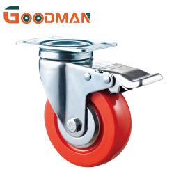 Placa superior con freno Total/Bloqueo de la rueda de PVC de color rojo brillante Prestaciones medias Caster