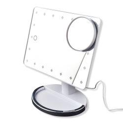 よい製造者ミラーのガラスミラーはLEDライトが付いているミラーが付いている机を構成する