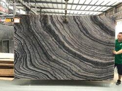 천연 석재 화이트/베이지/그레이 실버 웨이브 환대를 위한 블랙 마블 슬랩 바닥 벽 타일 크기로 자르기