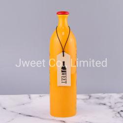 Commerce de gros rond jaune Golden fleur bouteille d'olive en céramique