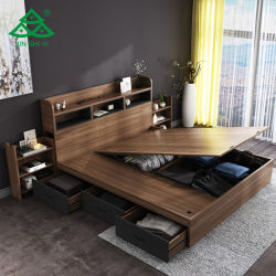 Quarto Cama mobiliário moderno com cama King cama dormitório cama Mestre da Placa
