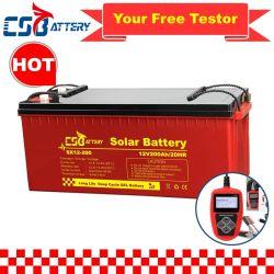 Csbattery 12V 100ah/150ah/200ah batería recargable de almacenamiento de gel de ciclo profundo para solar Pack /Inversor/Power-Tool/UPS/Electric-Scooter/bicicleta/vehículo/Pack/6V/CSB