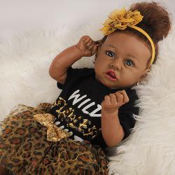 22-дюймовый Афроамериканка возрождается детский кукла девочка Tisha возрождается мягкая силиконовая Baby dolls для детей