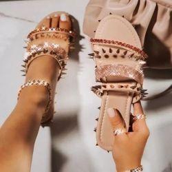 Rivet de nu femmes Superstarer Pretty Ladies chaussures sandales sangle Glitter filles Bling Diapositive sandale