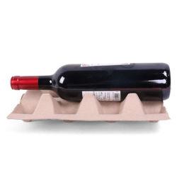 Kundenspezifisches Papier Zellstoff Geformte Glas Weinflasche Verpackung Recycling Zellstoff Zellstofftablett Für Rote Weinflaschen