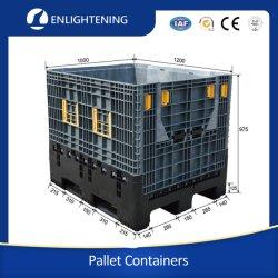 헤비 듀티 커스텀 대형 산업용 HDPE 스택형 창고 보관 접이식/접이식 자동 부품/물류 에 대한 플라스틱 팔레트 빈/컨테이너/상자