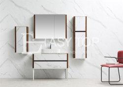 容易な標準的なフランスに1つの流し取付けられる現代様式の石の白+クルミの床-インストールしなさい
