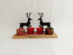 الجملة بلاك المعادن Deer شاي ضوء عيد الميلاد Candle Holder ، تصميم جديد الزجاج ضوء الشاي في حامل شمعة مع المعادن + الخشب حامل للديكور المنزلي CandleHolder