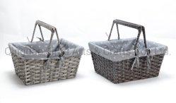 Panier en plastique gris Super Load-Bearing Shopping sacs à provisions avec poignées