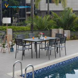 Простота обслуживания 6-местный ресторан Терраса на открытом воздухе мебель из алюминия