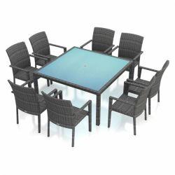 광장 식당 의자 테이블 세트 라탄 위커 식당 의자 사각 테이블(WF-15200)