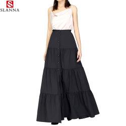 A roupa de mulher de pregas de algodão Maxi Botão Casual Flare saia longa