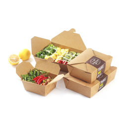 カスタムロゴはブラウンクラフト紙の防水オイル証拠のPEのコーティングサラダホットドッグの軽食のファースト・フードの寿司によって揚げられている鶏の昼食の食事のテークアウトの包装のカートンボックスを印刷した