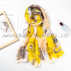 الجملة 90 × 180 سم وشاح البوليستر الكبير المخصص يدويا النساء الطباعة أوشحة حريرية ساتان