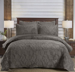 Insieme grigio unico della trapunta del coperchio del velluto 3PC della tessile domestica