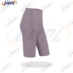 Hochwertiges Gewebe-heraus Pocket Yoga-Kurzschluss-Bauch-SteuerTraining, das athletische hohe Taillen-Yoga-Kurzschlüsse laufen lässt